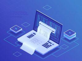 Electron bill, biing system online payment, finance report concept, program code, laptop neon dark isometric vector
